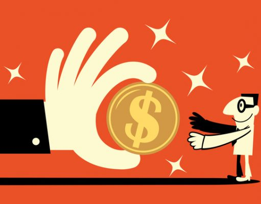 Big hand giving a big dollar sign currency money to a smiling doctor-hospitalist