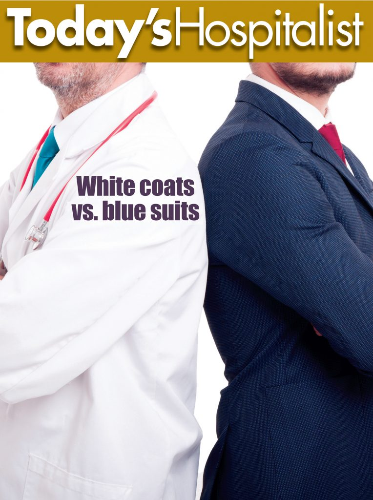 The white coats vs. the blue suits