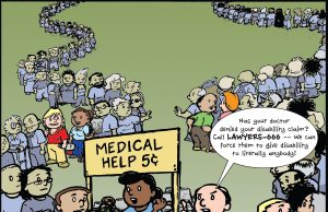 cartoon highlighting medical help and parade of disability