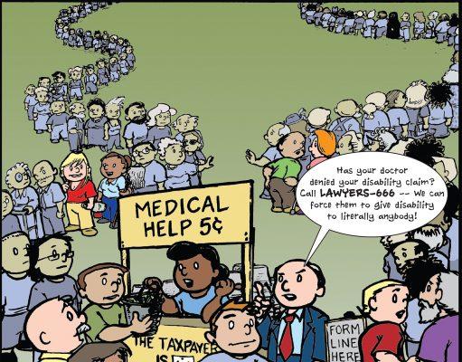 cartoon highlighting medical help and parade of disability