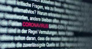 Coronavirus wording on computer screen