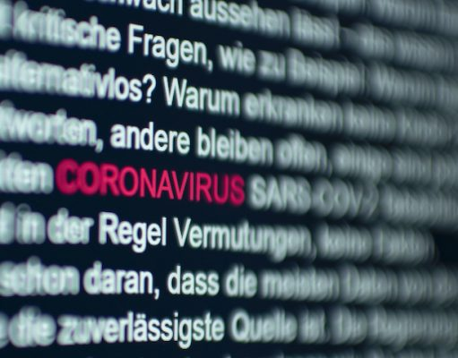 Coronavirus wording on computer screen
