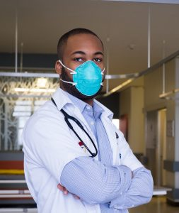 male doctor wearing protective mask
