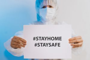 health care worker asking stay home stay safe