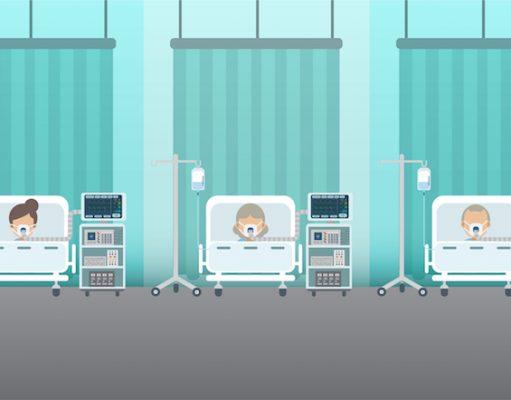 Group of patients with ventilators